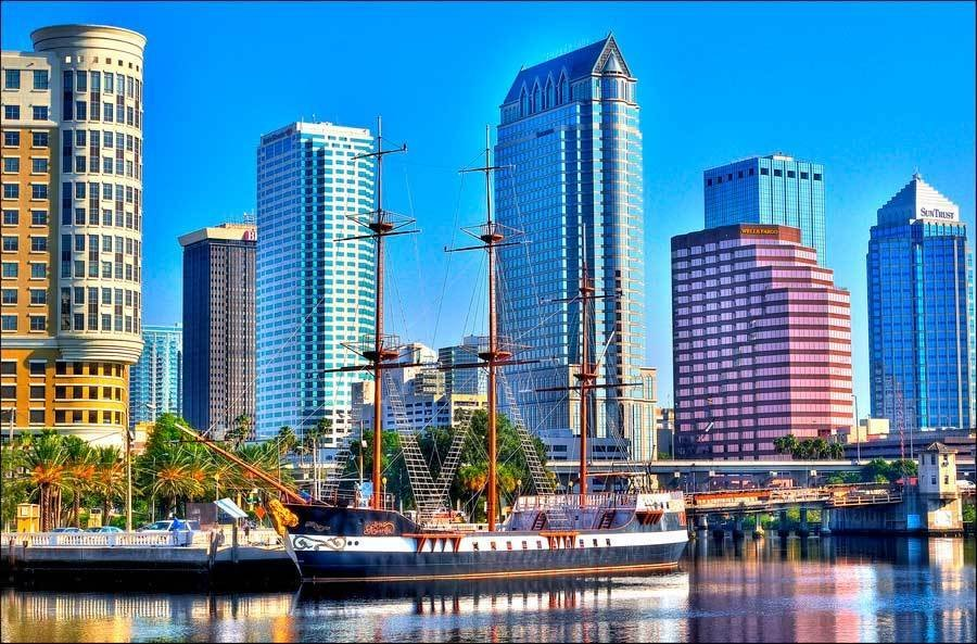 Downtown Tampa and Pirate Ship